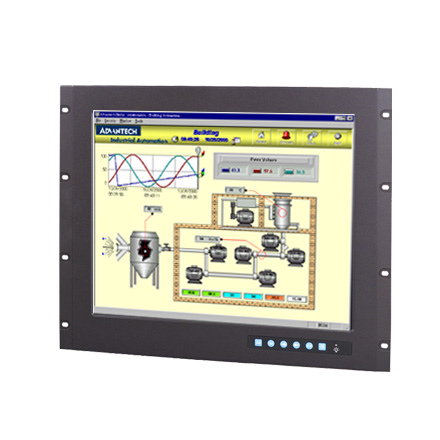 "9U Rackmount 19"" SXGA Industrial Monitor with Resistive Touchscreen, Direct-VGA and DVI Ports"