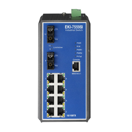 8+2 Fast Ethernet Fiber Optic Managed Switch Wide Temperature Range