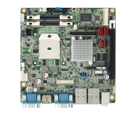Mobile AMD R-series Quad Core/Dual Core Industrial grade Mini-ITX motherboard with VGA/LVDS/HDMI/DP/eDP, 6COM and Dual LAN
