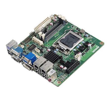 Mini-ITX Motherboard with Intel® Core™ i7/i5/i3/Celeron, CRT/DVI/LVDS, 6 COM, Dual LAN, PCIe x4