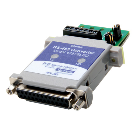 RS-232 to RS-485 Converter – data LEDs, software driver control