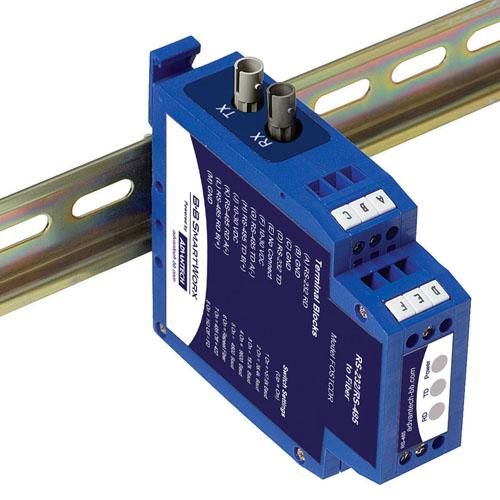 Serial to Fiber Optic Converter - serial TB, multimode ST fiber