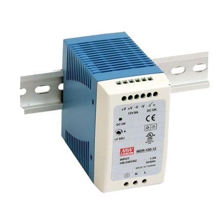 90W, 12VDC, 7.5A, AC-DC Single Output DIN Power Supply, Slim Plastic Case