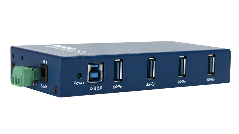 4-Port Industrial USB 3.0 SuperSpeed Hub (USB cable included)
