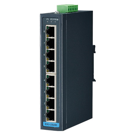 8 Port 10/100Mbps Unmanaged Ethernet Switch, -40 to 75℃