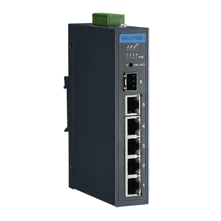 4FE PoE+1G+1G SFP, Unmanaged Ethernet Switch, IEEE802.3af/at, 48V~53VDC, -40~75℃