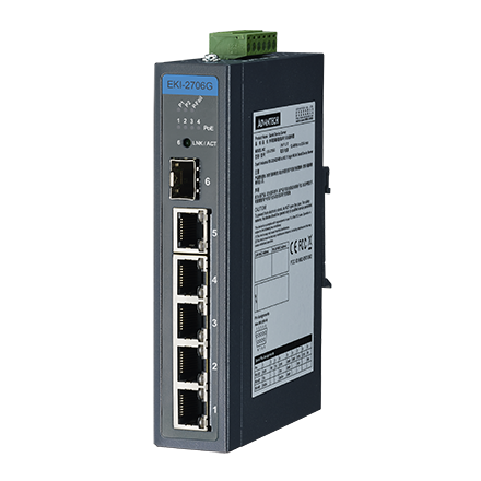 6 port Gigabit Unmanaged Ethernet Switch with 4 PoE+ port,-40~75℃