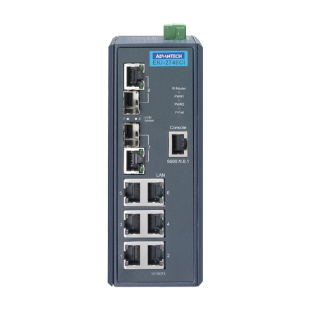 6GE+2G Combo Managed Ethernet Switch, -40~75℃