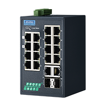 16FE+2G Combo Managed Ethernet Switch support PROFINET, -40~75℃
