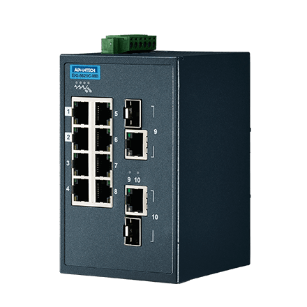 ETHERNET DEVICE, 8FE+2G Ind. Switch with Modbus TCP/IP.