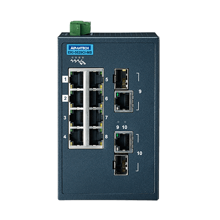 ETHERNET DEVICE, 8FE+2G Ind. Switch with Modbus TCP/IP, W/T.