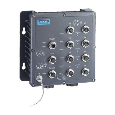 EN50155 IP67 8 M12+2 Fiber mgm switch wide temp.