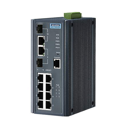 ETHERNET DEVICE, 8FE + 2G Combo Managed POE+ switch w/Wide temp