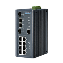 8 Gigabit + 2 Gigabit Combo managed PoE+ Switch with IXM, Wide Temperature -10~60℃