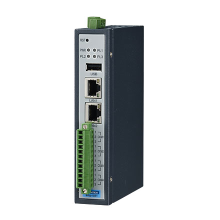 Communication IoT Gateway with WISE-PaaS/EdgeLink, LAN x2, Iso. RS-232/485 x4