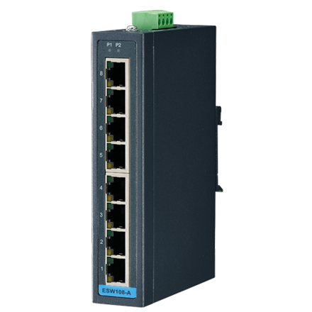 8FE Slim-type Unmanaged Industrial Ethernet Switch with Low VAC Power Input