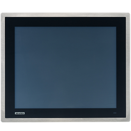 """17"""" SXGA Industrial Monitor with Resistive Touch Control, Direct VGA, DP Ports, and 304 Stainless Steel Front Bezel"""