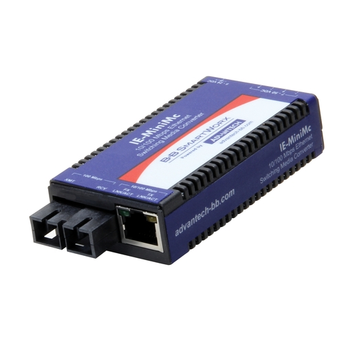 Miniature Media Converter, Wide Temp, 100Base-TX/FX, Multi-mode 1300nm, 5km, ST type (also known as IE-MiniMc 854-19722)