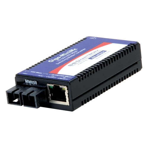 Miniature Media Converter, 1000TX/SX, Single-mode 1310nm, 10km, SC type,  w/ AC adapter (also known as MiniMc 856-10731)