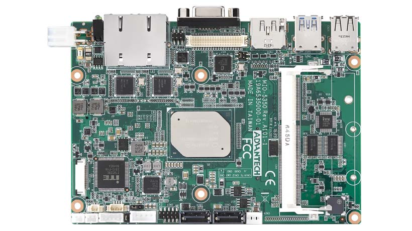 "Embedded Single Board Computer, Intel Celeron N3350 3.5"" SBC with DDR3L, 3 independent displays, 2GbE, Mini PCIe, mSATA"