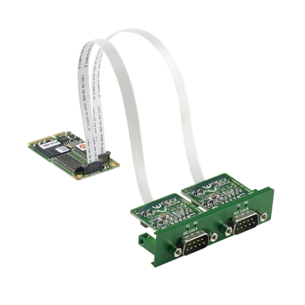iDoor Module: 2-Ports Isolated CANBus mPCIe, CANOpen, DB9